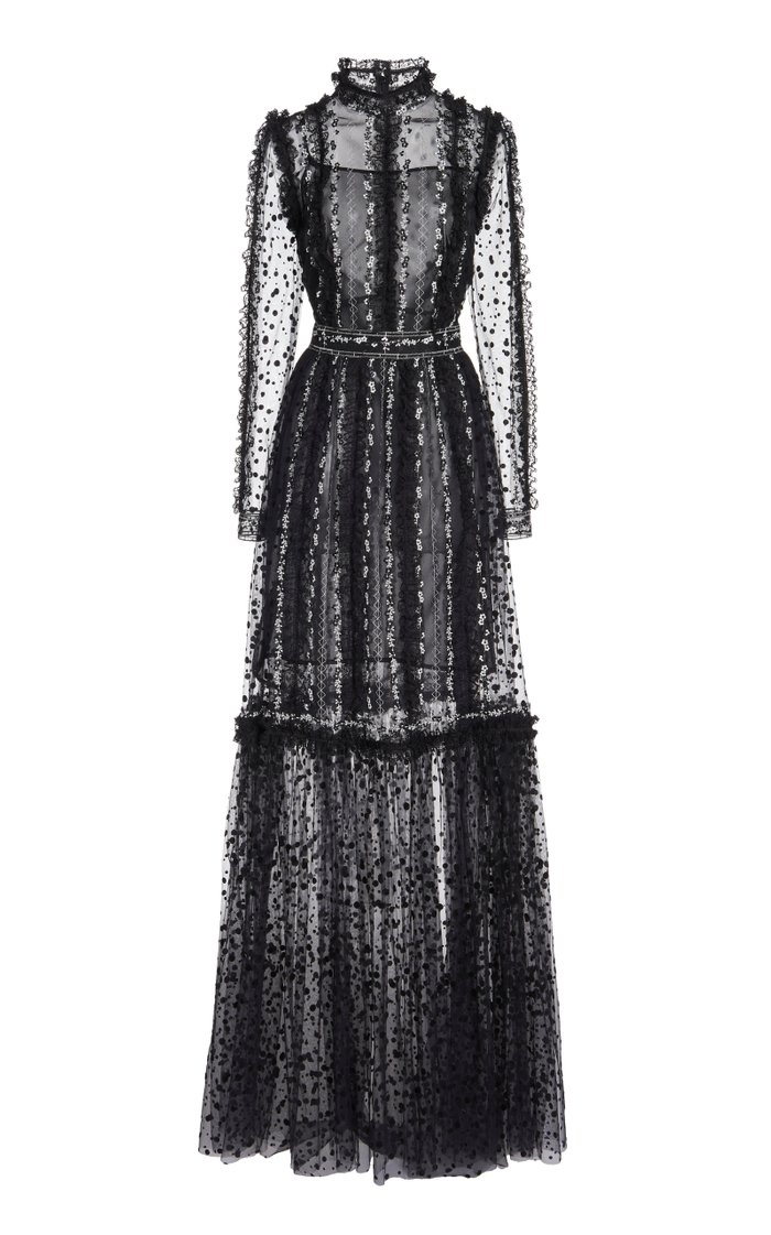 Anice Floral-Embroidered Dotted-Tulle Gown