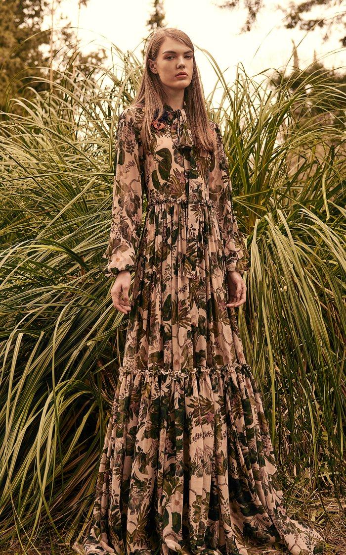 Elida Floral-Appliquéd Printed Chiffon Gown