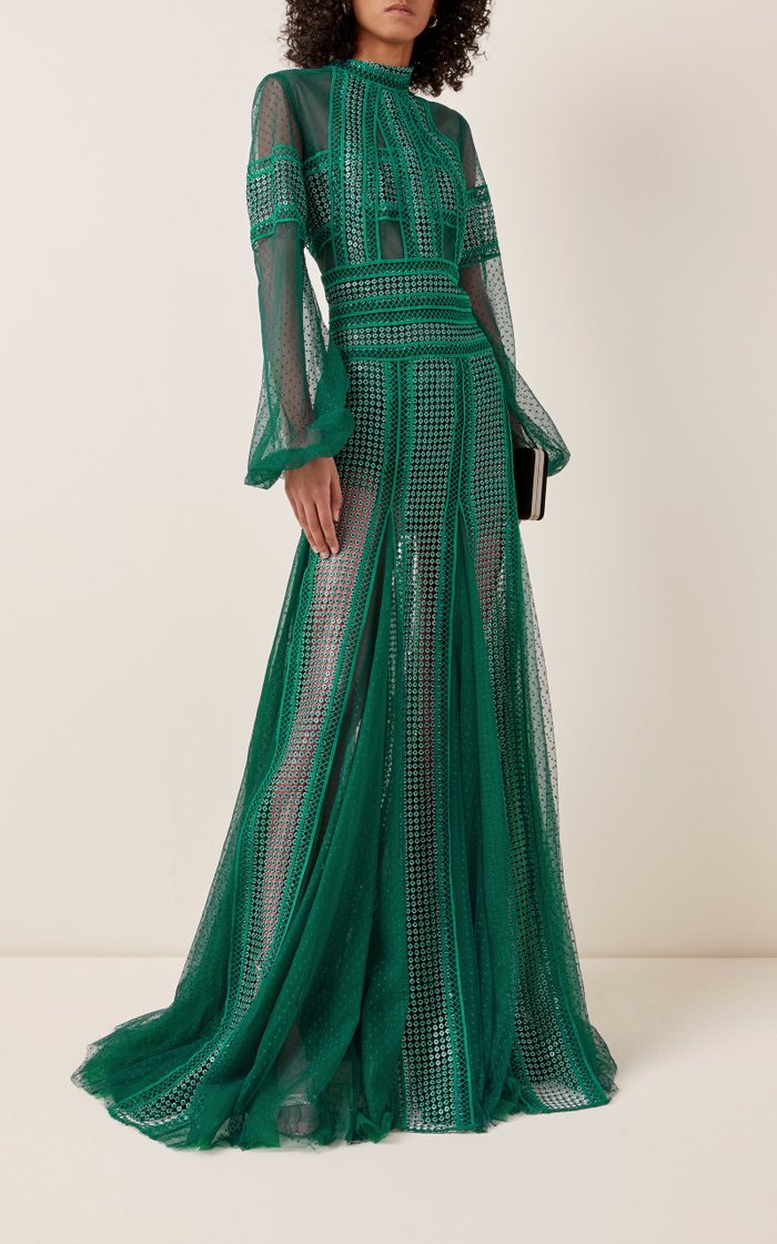 Evita Lace-Detailed Sequined Dotted-Tulle Maxi Dress
