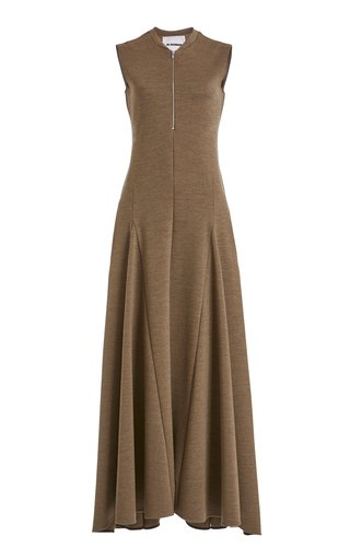 Nicole Zip-Detailed Wool Maxi Dress