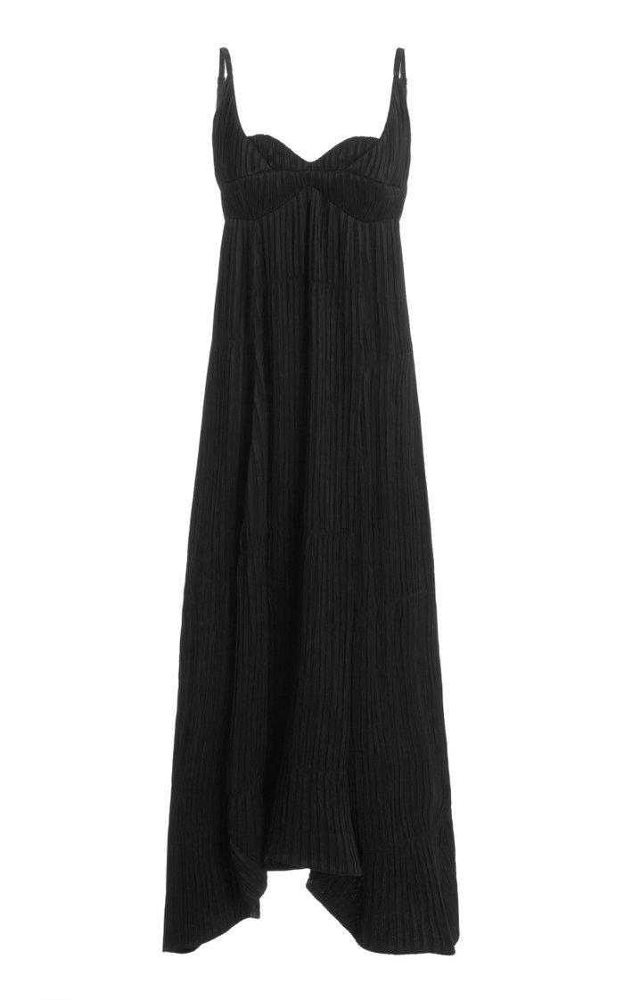 Novella Plissé-Georgette Maxi Dress