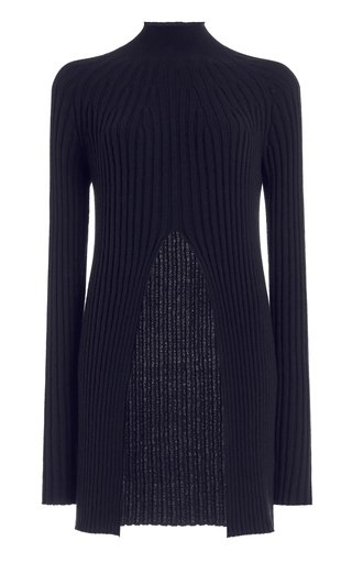 Cutout Ribbed Wool-Blend Turtleneck Sweater