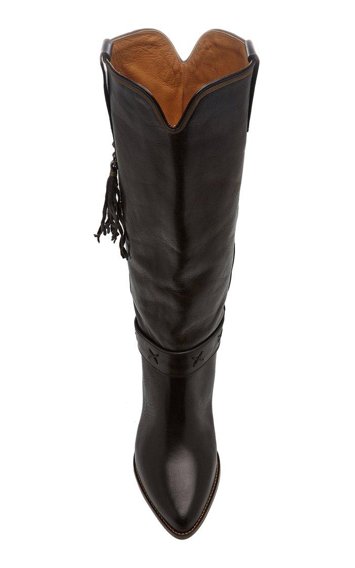 Dulma Tasseled Leather Knee Boots