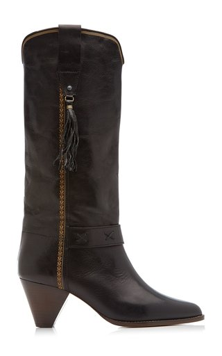 Dulma Tasseled Leather Knee Boots