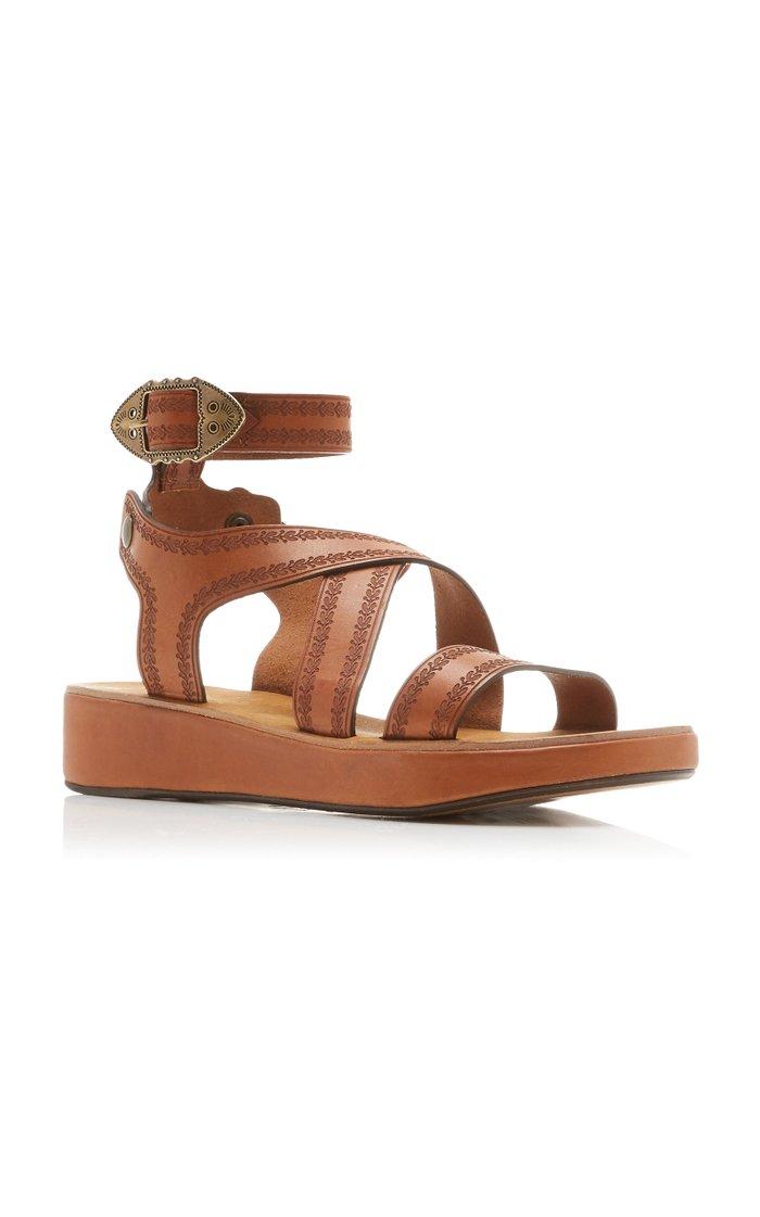 Nuriee Leather Platform Sandals