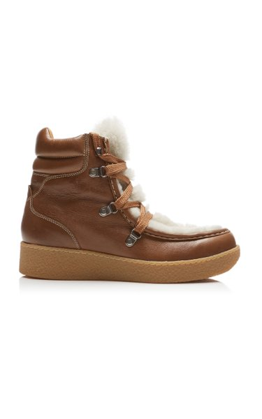 Alpica Shearling-Trimmed Leather Boots
