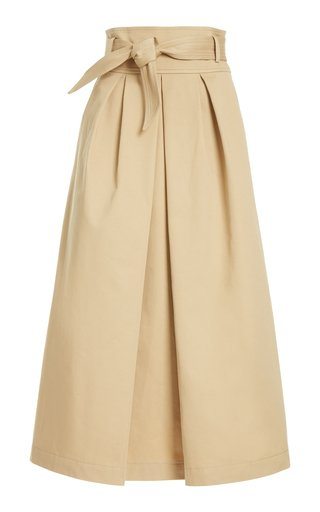 Belted Pleated Cotton-Gabardine Midi Skirt