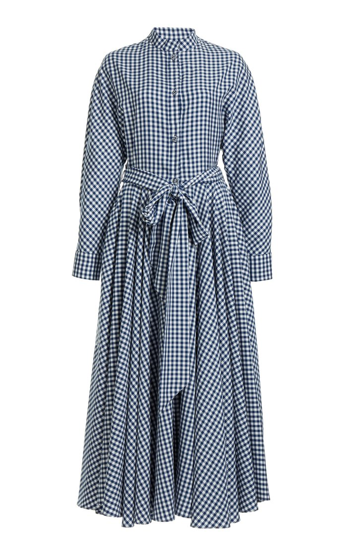 Belted Gingham Midi Shirt Dress