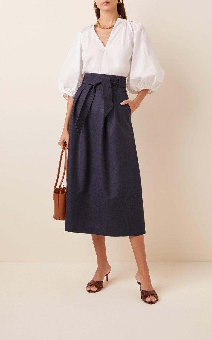 Belted Wool Midi Skirt