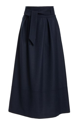 Belted Wool Midi Skirt