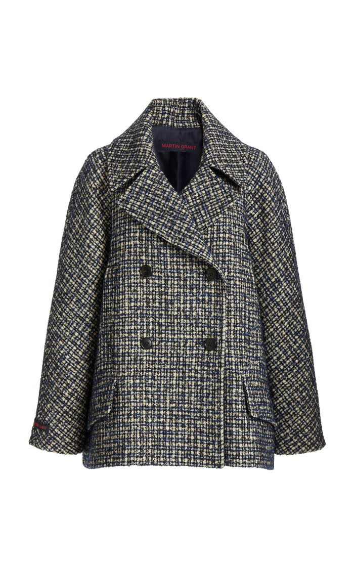 Wool-Blend Tweed Double-Breasted Jacket