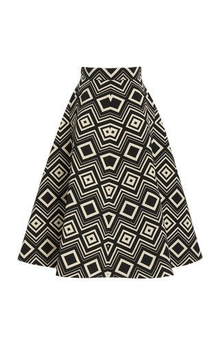 Printed Wool & Silk Midi Skirt