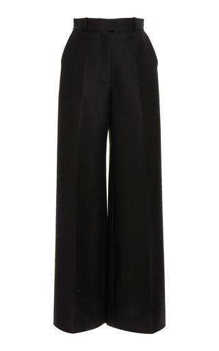 Wool & Silk Wide-Leg Pants