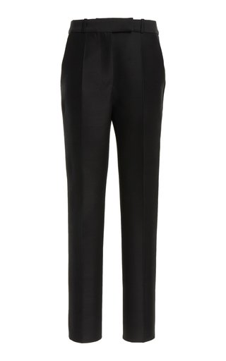 Wool-Silk Straight-Leg Trousers