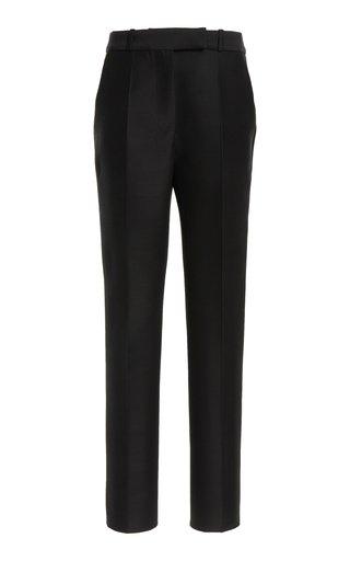 Wool-Silk Straight-Leg Trousers