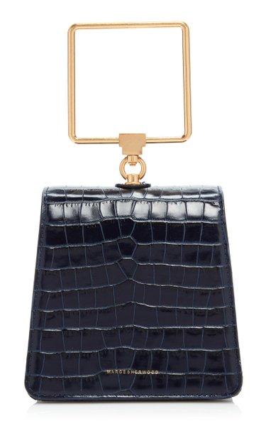 Pump Croc-Effect Leather Top Handle Bag