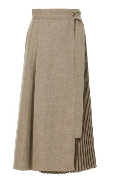 Pleated Wool Wrap Skirt