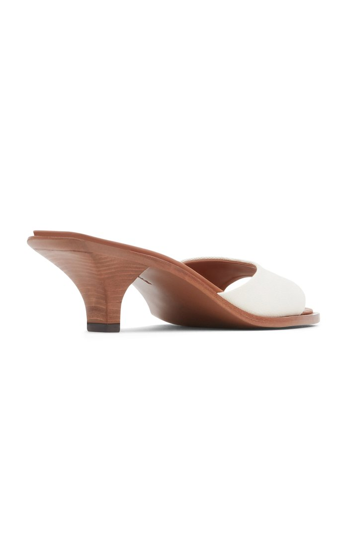 Cygnus Canvas-Trimmed Leather Sandals