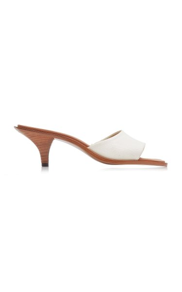 Cygnus Canvas-Trimmed Leather Sandals