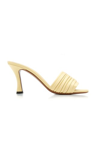 Sham Pleated Leather Sandals