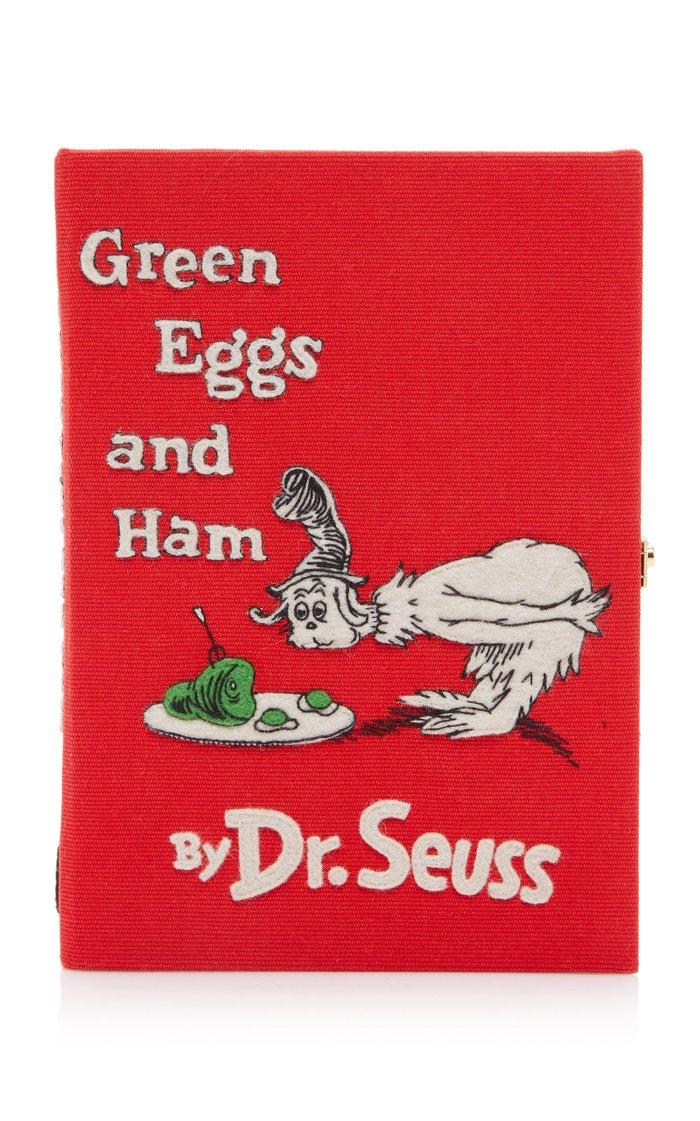 Green Eggs And Ham Appliquéd Canvas Book Clutch