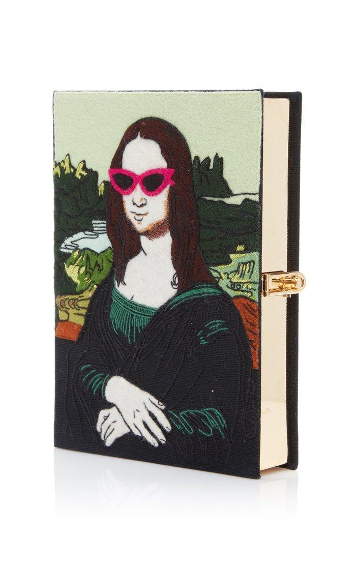 Mona Lisa Appliquéd Canvas Book Clutch