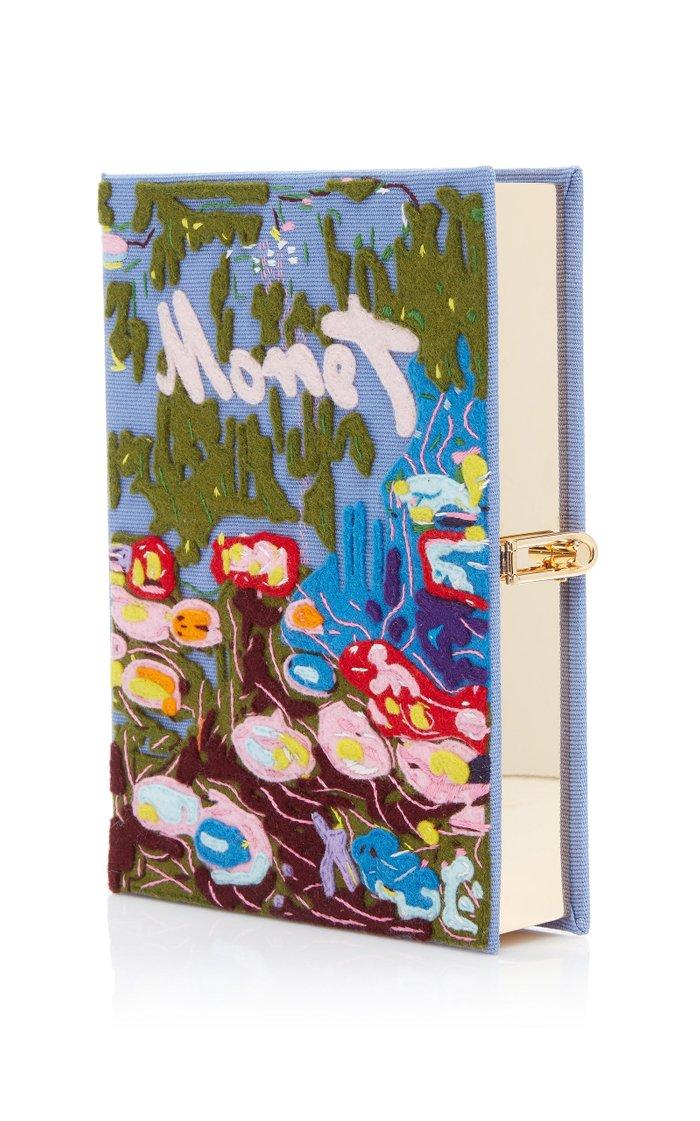Monet Appliquéd Canvas Book Clutch