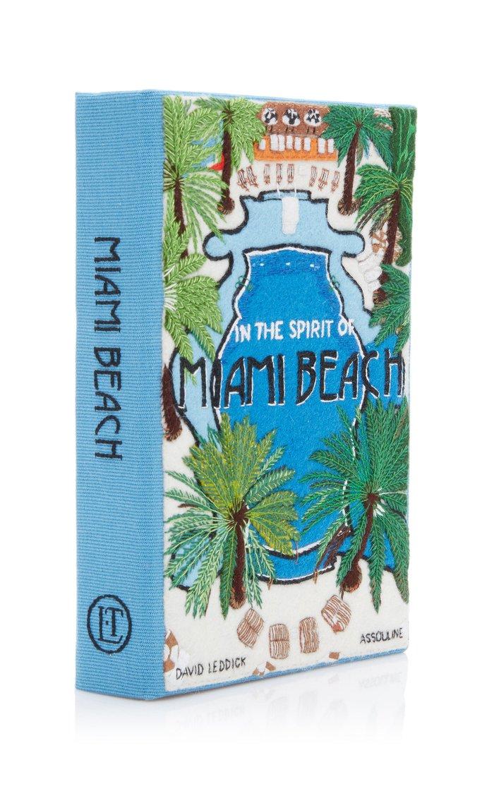 Miami Beach Embroidered Canvas Clutch