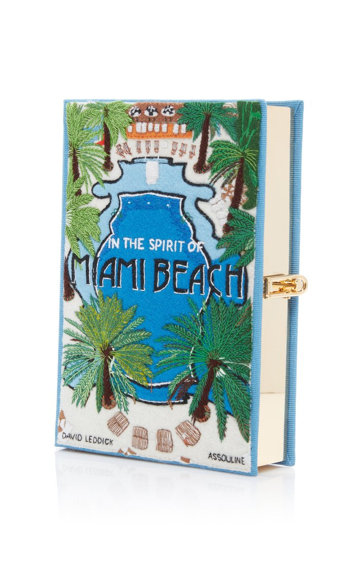 Miami Beach Embroidered Canvas Clutch