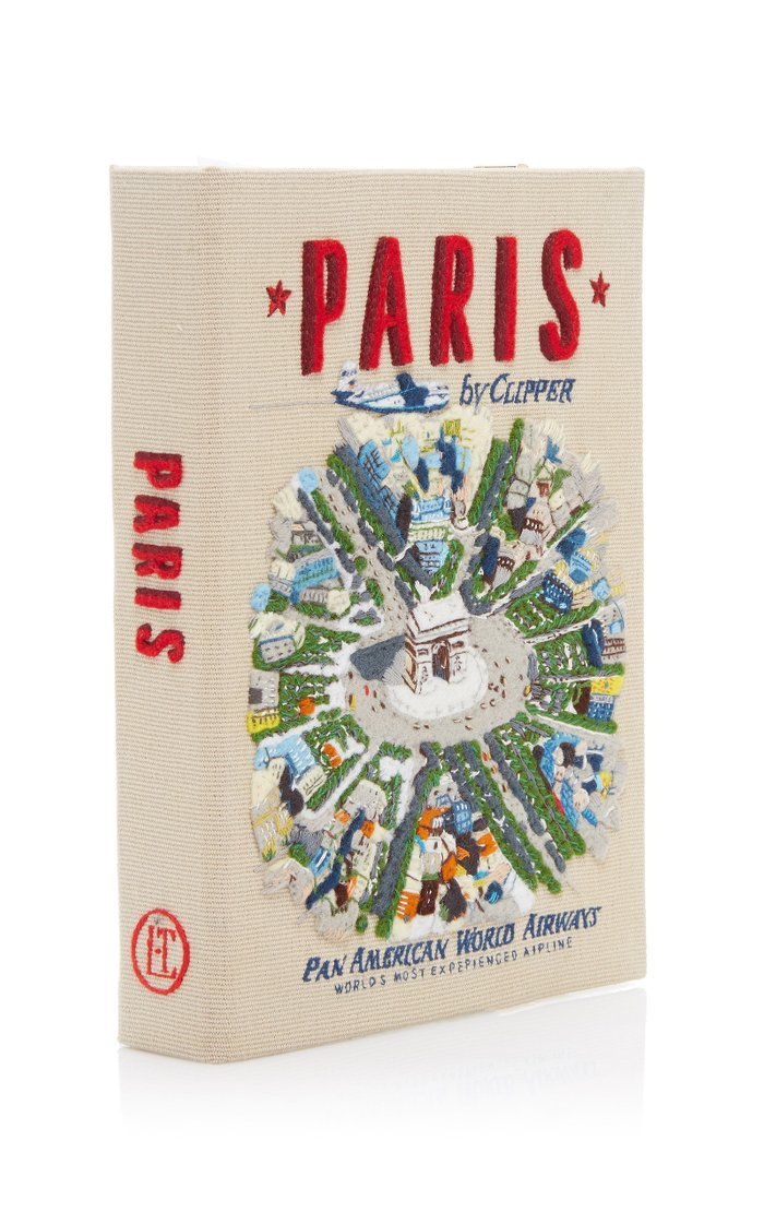 Paris Embroidered Canvas Book Clutch