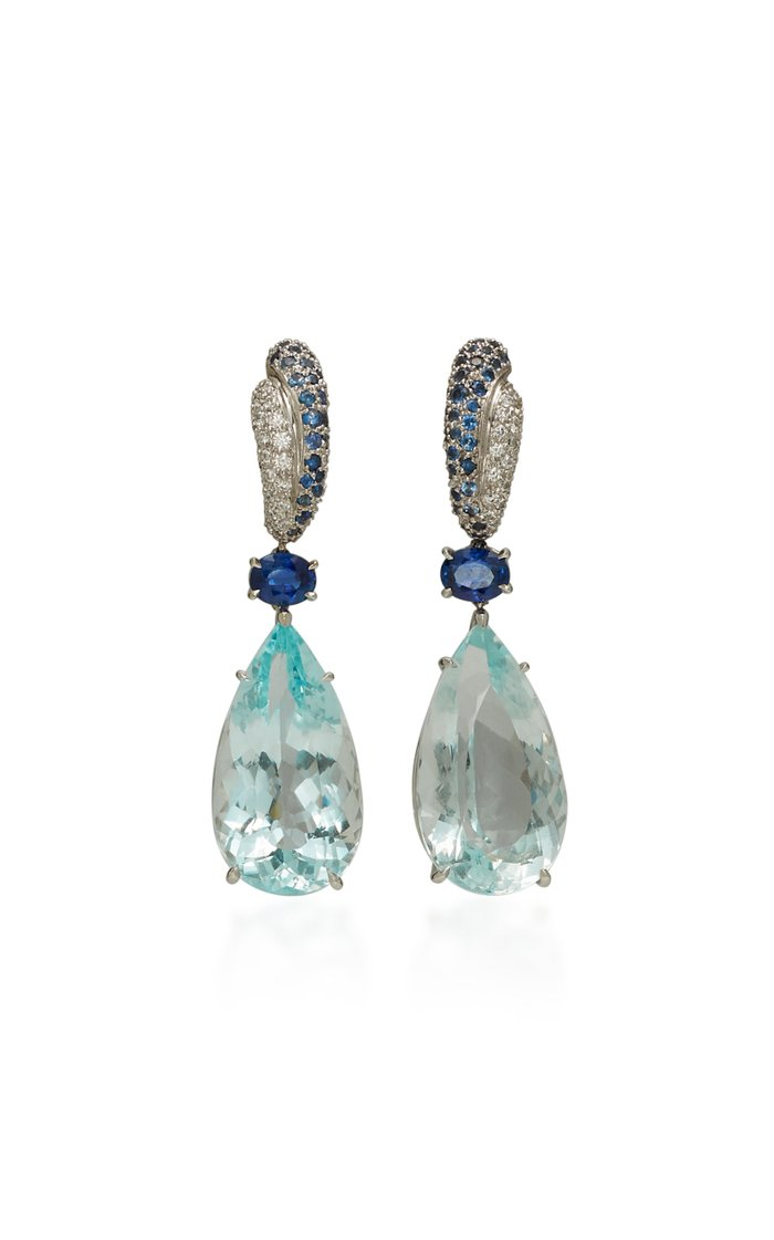 18K White Gold, Aquamarine And Sapphire Earrings
