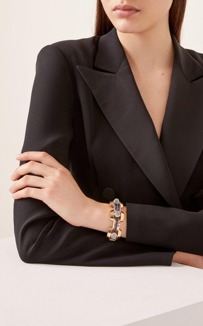 Retro 18K Gold, Moonstone And Sapphire Bracelet