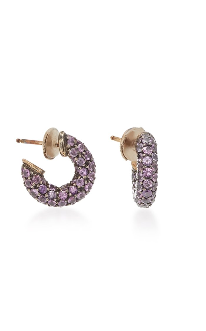 Pirate 18K Gold, Oxidized Silver And Sapphire Earrings