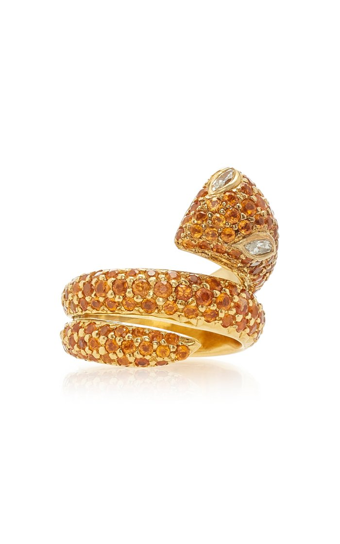 Snake 18K Gold And Garnet Ring