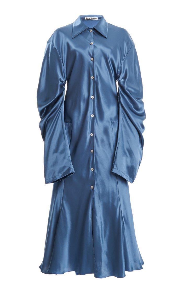 Delissa Draped Satin Midi Dress