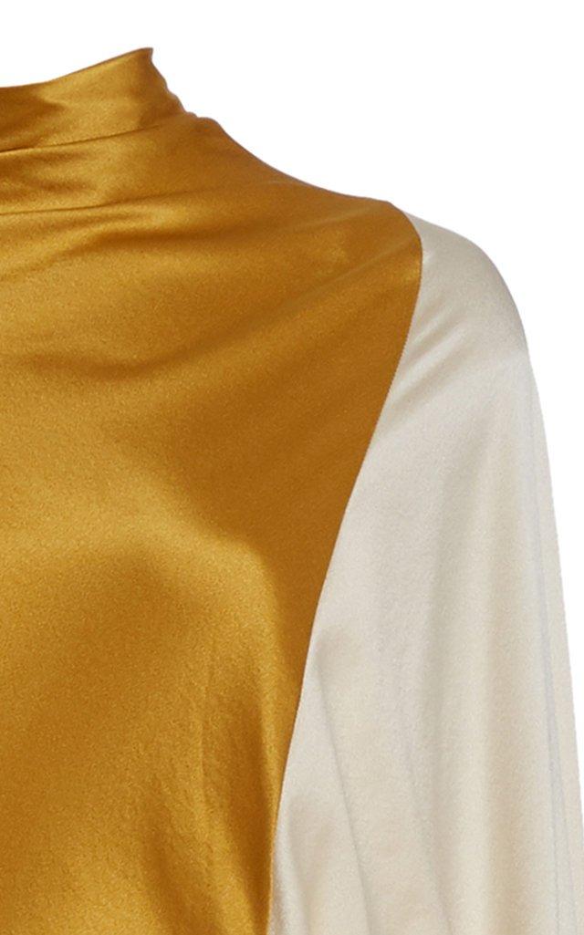 Andromeda Colorblocked Silk Cape Dress