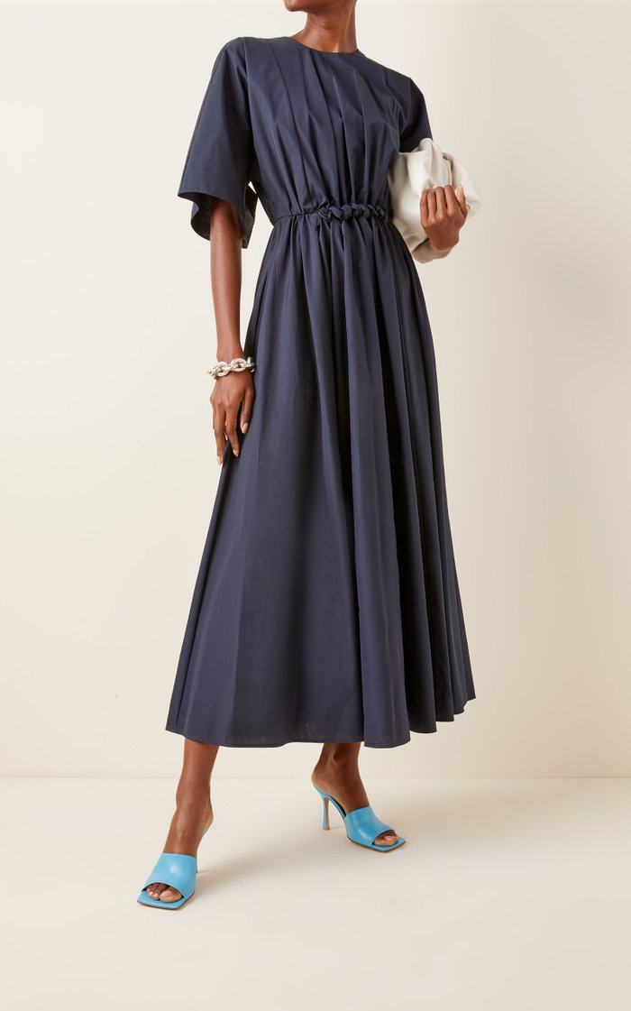 Manu Gathered Cotton Maxi Dress