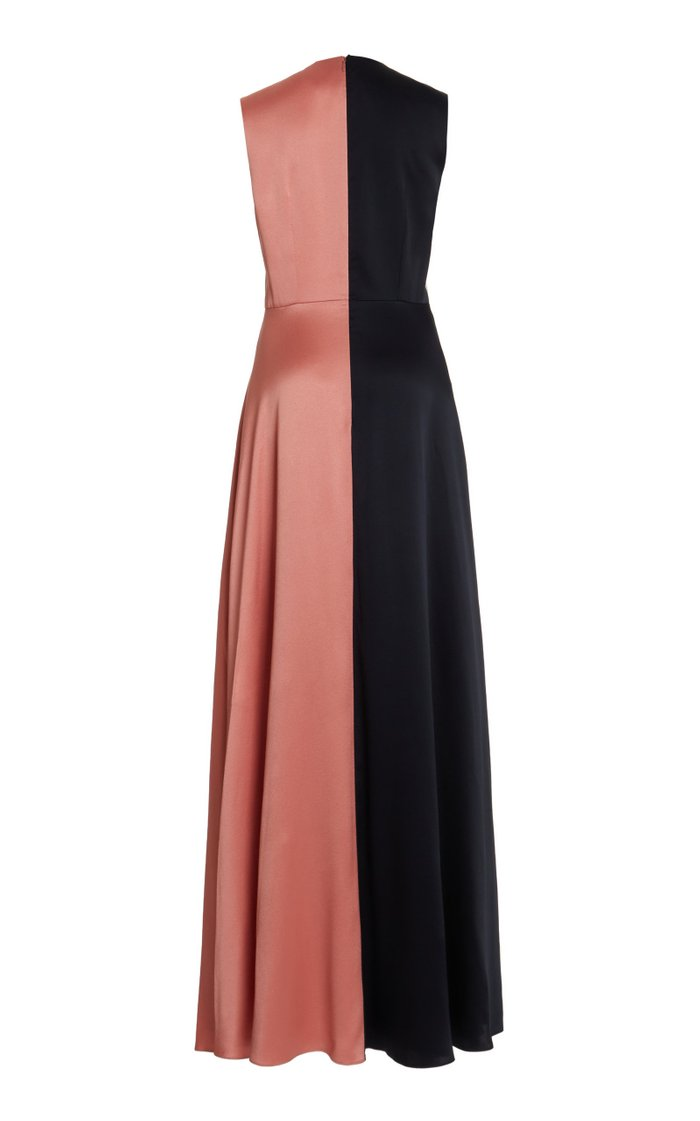 Rowan Color-Blocked Silk Gown