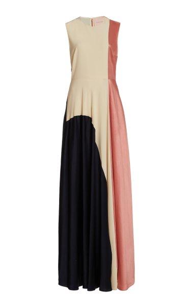 Rowan Color-Blocked Silk Gown