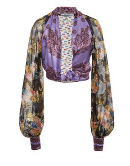 SpecialOrder-Balloon Sleeve Plunge Printed Top-MF
