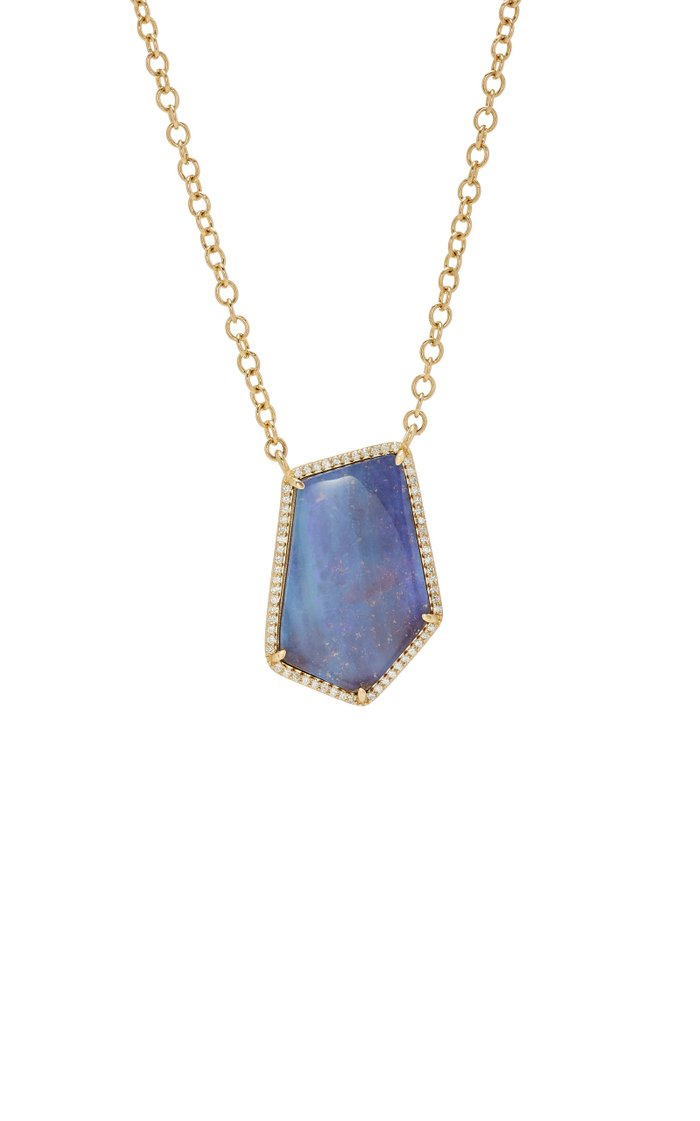 14K Gold, Opal And Diamond Necklace