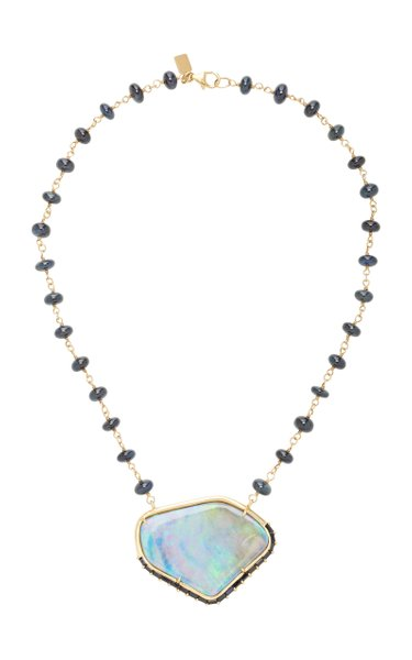 14K Gold, Sapphire And Opal Necklace