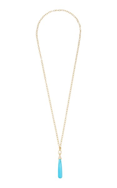 14K Gold, Diamond And Turquoise Necklace