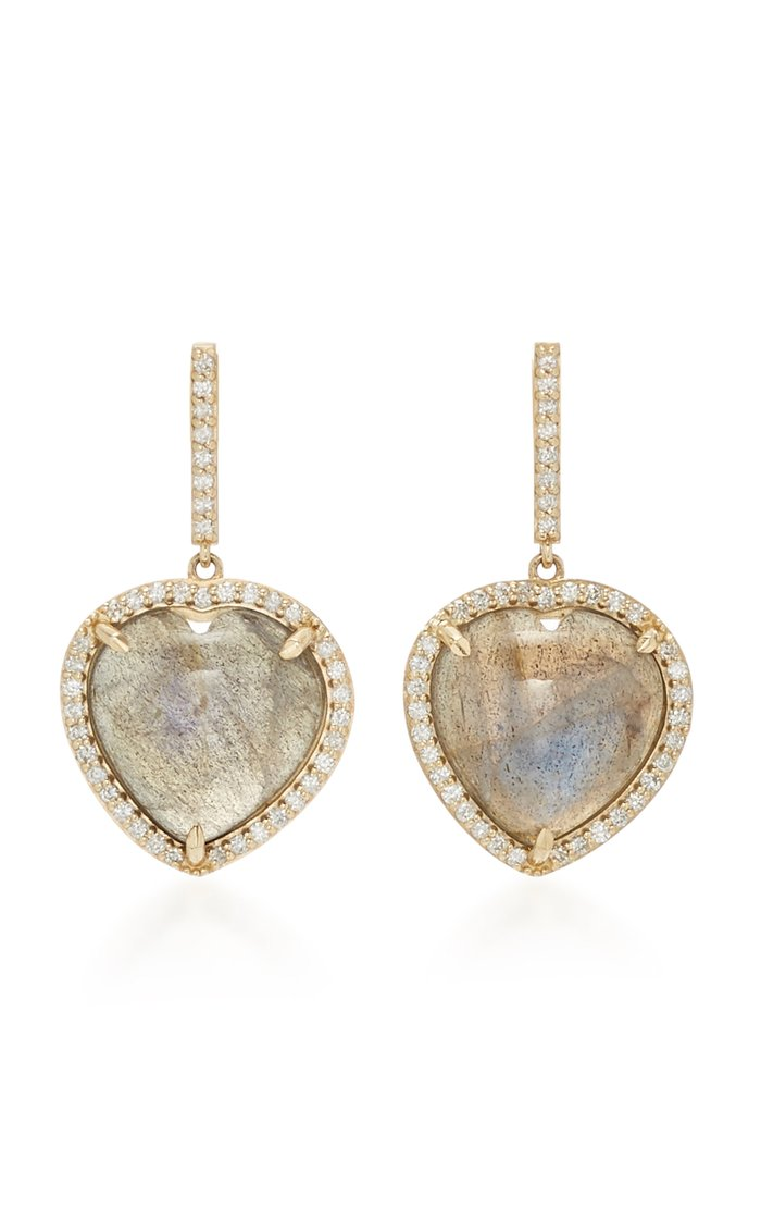 14K Gold, Diamond And Labradorite Earrings