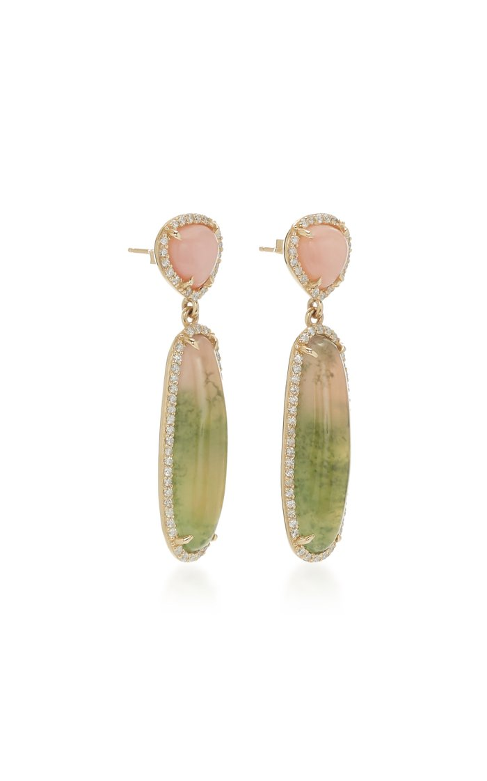 14K Gold, Diamond And Tourmaline Earrings