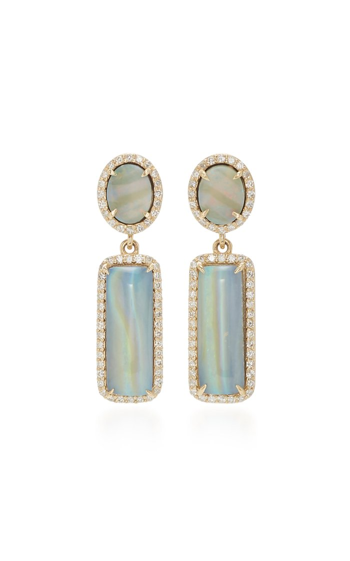 14K Gold, Diamond And Opal Earrings