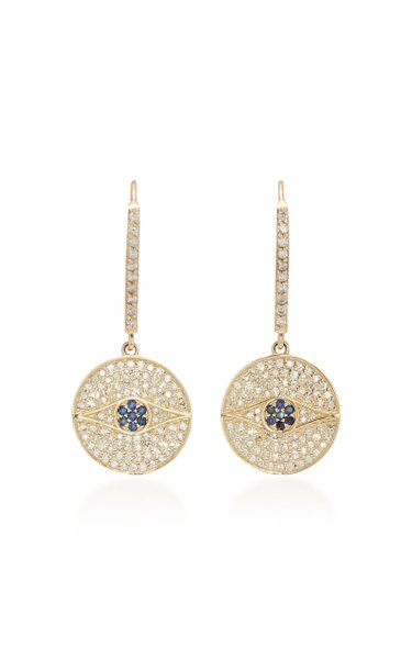 14K Gold, Diamond And Sapphire Earrings