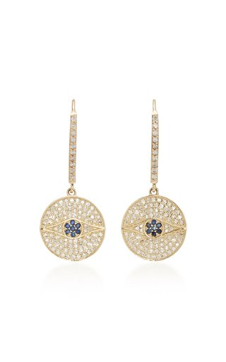 14K Gold, Diamond And Sapphire Earrings