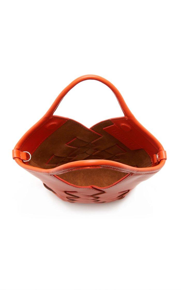 Coloma Mini Woven Leather Top Handle Bag