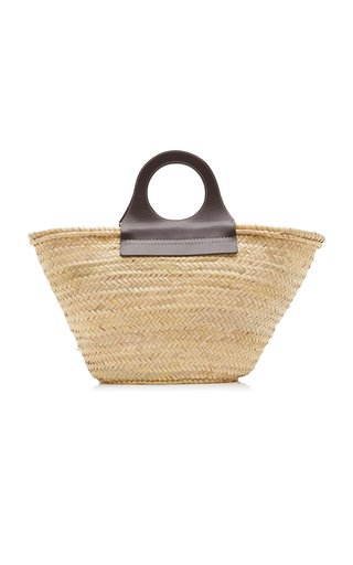 Cabas Leather-Trimmed Straw Tote